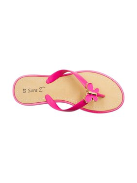 b118adc323f588 Product Image Sara Z Girls Thong Sandals with Gold and Enamel Butterfly  Fuchsia Size 11 12