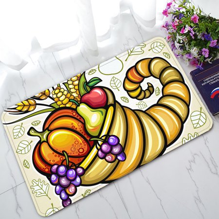 YKCG Thanksgiving Theme Harvest Cornucopia Doormat Indoor/Outdoor/Bathroom Doormat 30x18 inches - Thanksgiving Theme
