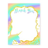 Unicorn Pastel Thank You Cards - 10 Cards + 10 Envelopes - Made in the USA