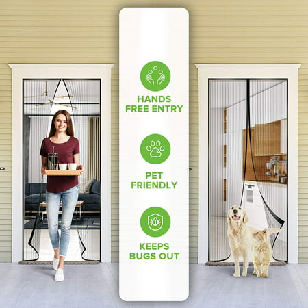 Partition Door - Magnetic Screen Door - Self Sealing, Heavy Duty, Hands Free Mesh Partition Keeps Bugs Out - Pet and Kid Friendly - Patent Pending Keep Open Feature - 36