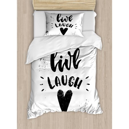 Live Laugh Love Twin Size Duvet Cover Set Hand Drawn