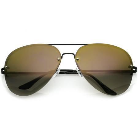 sunglassLA - Oversize Metal Rimless Aviator Sunglasses Double Crossbar Mirrored Lens 65mm - (Rimless Aviator Sunglasses)