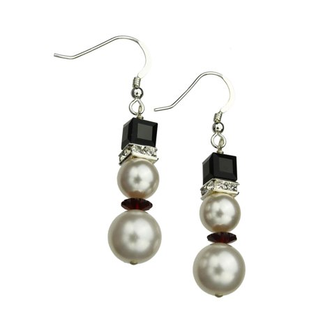 Silver Tone Simulated Crystal (Sterling Silver Earrings Simulated Pearl Snowman Made with Swarovski Crystals )