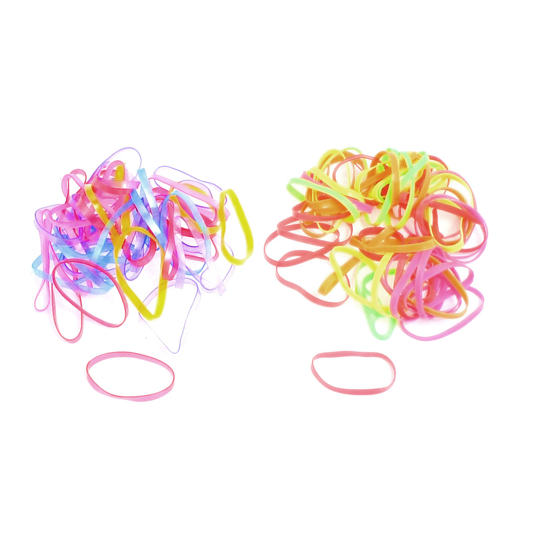 Unique Bargains 100 Pcs Multicolor Rubber Hair Ties Bands Ponytail Braid Holder Elastics