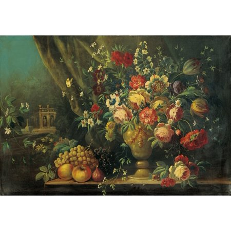 Still Life With Flowers And Fruits (Natura Morta Con Fiori E Frutti) Canvas Art -  (24 x 18)