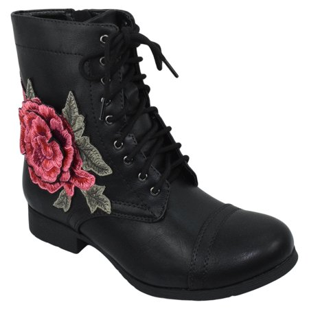 Women Combat Army Military Motorcycle Riding Flat Boots Floral Flower Zipper Lace Up TANKER