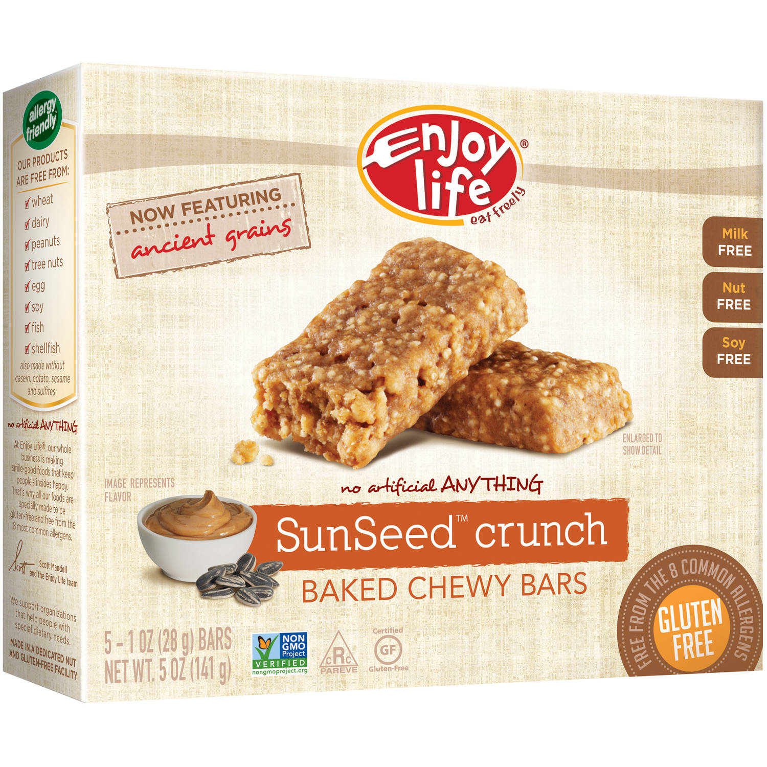 Enjoy Life SunSeed Crunch Baked Chewy Bars, 1 oz, 5 count, (Pack of 6)