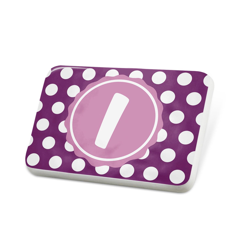 Porcelein Pin Monogram I Purple Polka Dots Lapel Badge – NEONBLOND