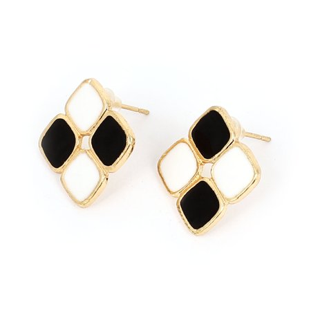 Pair Geometric Style Ear Decor Ear Pin Stud Earrings Black White for (Style Ear Pin)