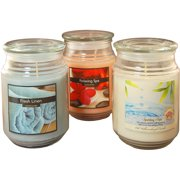 Fresh Collection Scented Candles, 18 oz Apothecary Jar, Set of 3