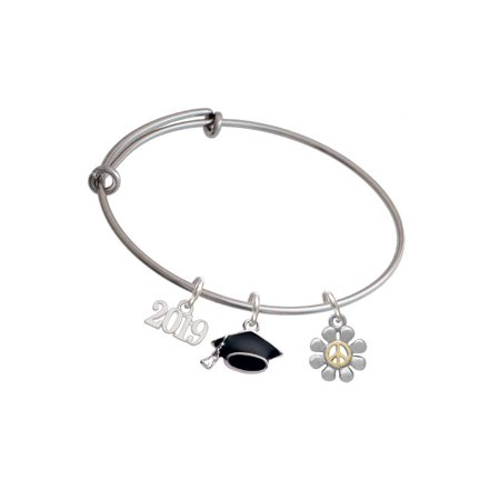 Two-tone Small Daisy with Peace Sign - 2019 Graduation Charm Bangle -