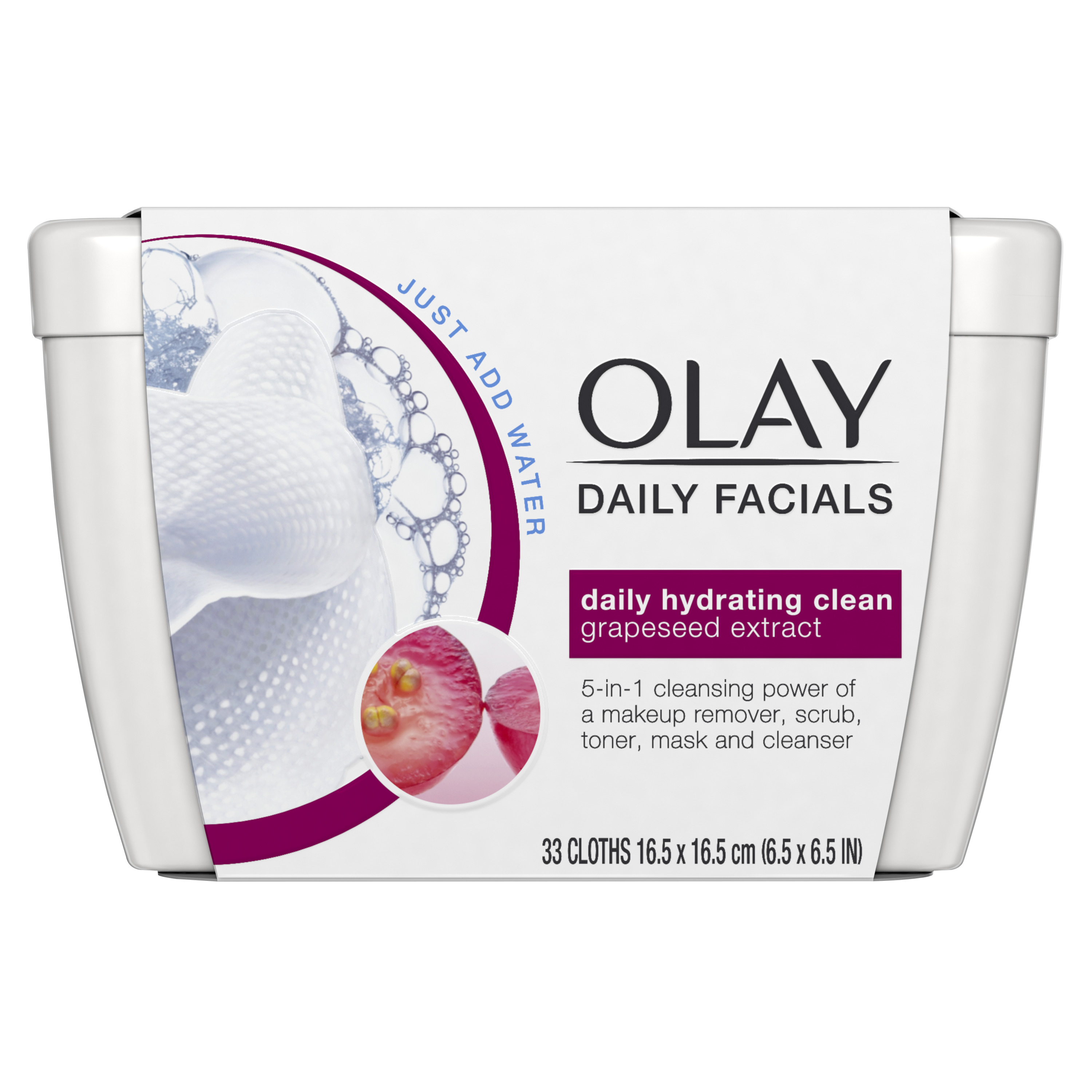 Olay Daily Hydrating Cleansing Cloths Tub Makeup Remover 33 Count