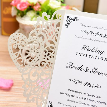 20Pcs Pearl Paper Cut Wedding Invitation Cards Greeting Card Kits Event Party Supplies with Blank Inner Sheet - image 6 of 7