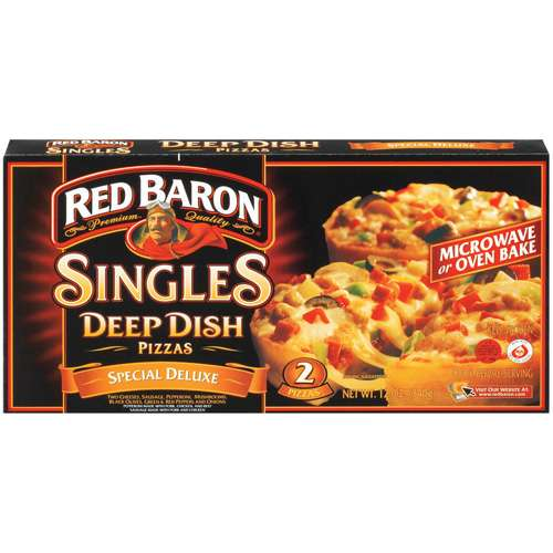 Schwan Food Red Baron Deep Dish Singles Special Deluxe Pizzas, Microwaveable, 2 ea