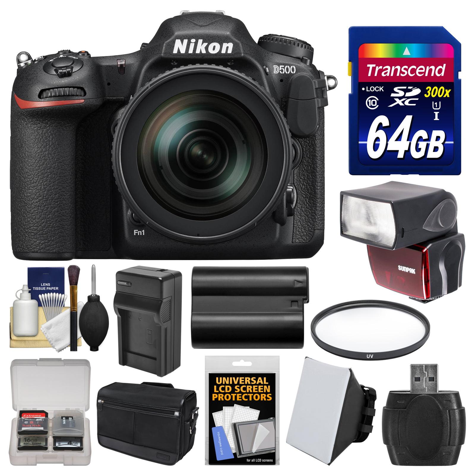 Nikon D500 Wi-Fi 4K Digital SLR Camera & 16-80mm VR Lens with 64GB Card + Case + Flash + Battery & Charger +... by Nikon