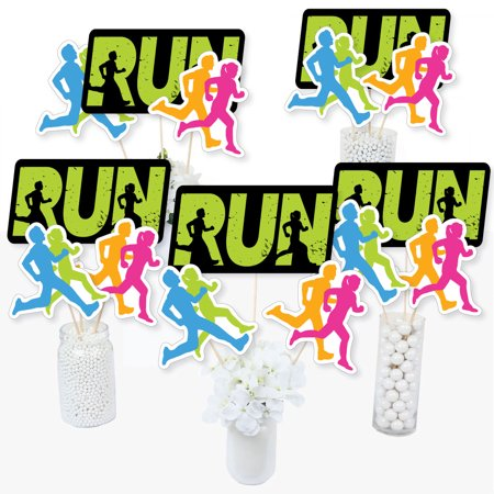 Set The Pace - Running - Track, Cross Country or Marathon Party Centerpiece Sticks - Table Toppers - Set of 15 (Marathon Stick)