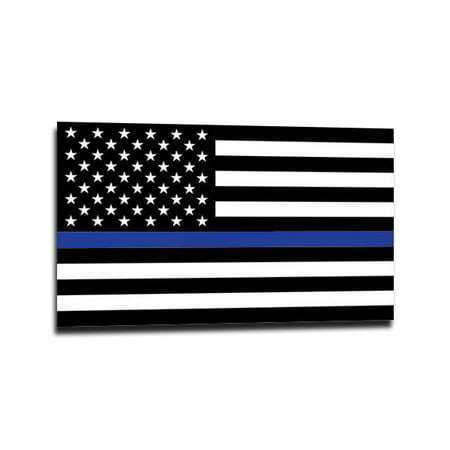 Gifted Line Stickers - Thin Blue Line American Flag Sticker - 4 x 6.5 Inches