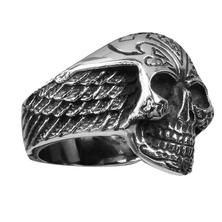 Stainless Steel Skull Ring with designs on the head and Wings on sides (Available in Sizes 10 to 14)size 10 ()