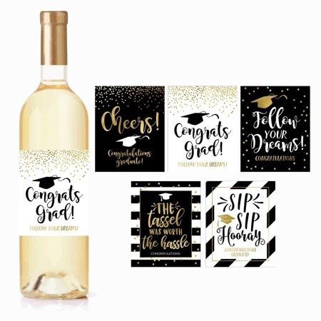 5 Graduation Gift Wine Labels or Stickers For Men or Women, Cute Unique Party Decoration Supplies Ideas, Best Present For Adult College, University, Masters, PHD, Nurse RN Navy Army Doctorate Graduate - Graduation Ideas For High School