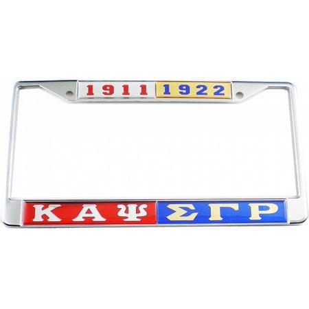 Kappa Alpha Psi + Sigma Gamma Rho Split License Plate Frame [Red/Blue -  Car/Truck]