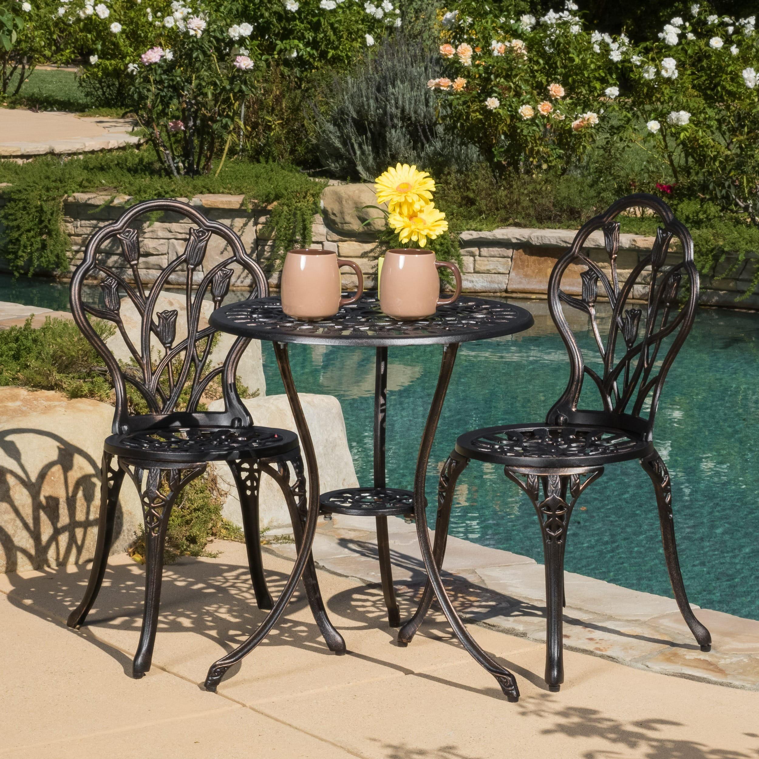 outdoor bistro table set Cast Aluminum Rose Brown Outdoor Bistro Set   Walmart.com outdoor bistro table set