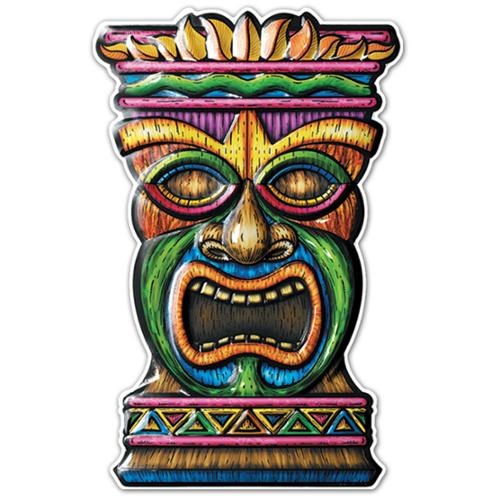"Pack of 12 Multi-Colored 3-D Tiki Art Decorations 17.5"" x 10"""