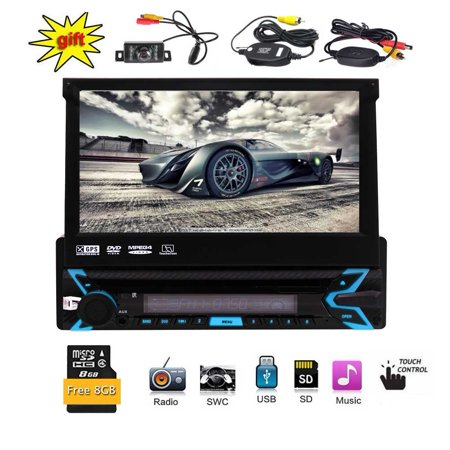 Wireless Rear Camera is free ! Single Din Car Stereo With 7 Inch Digital HD Touch Screen In Dash Radio Receiver Support Bluetooth USB/SD Detachable Front Panel Remote Control