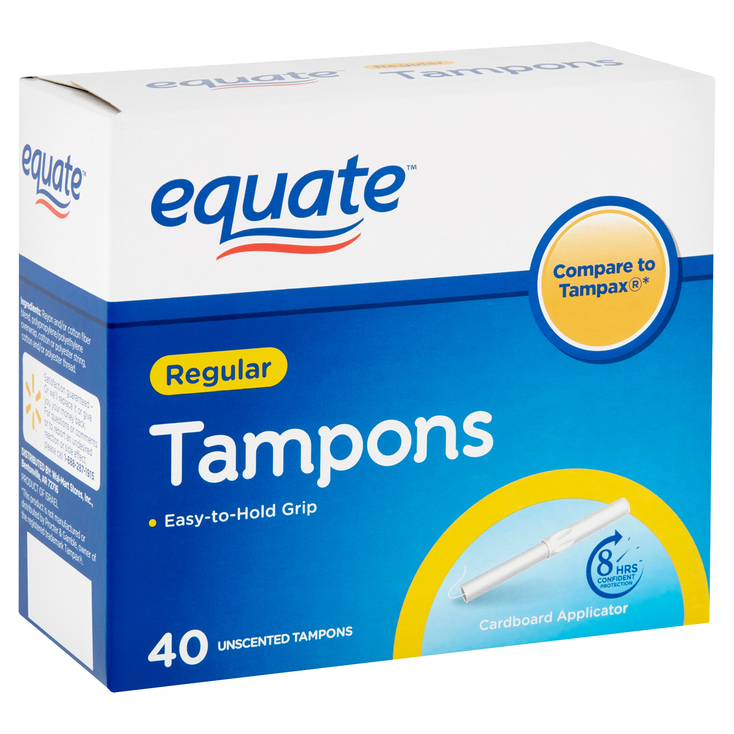 Equate Regular Unscented Tampons, 40 count