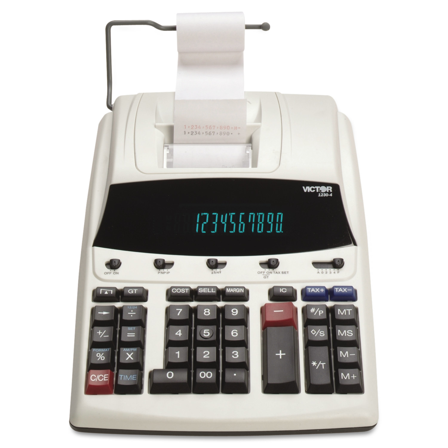 Victor 1230-4 Fluorescent Display Printing Calculator, Black/Red Print, 3 Lines/Sec