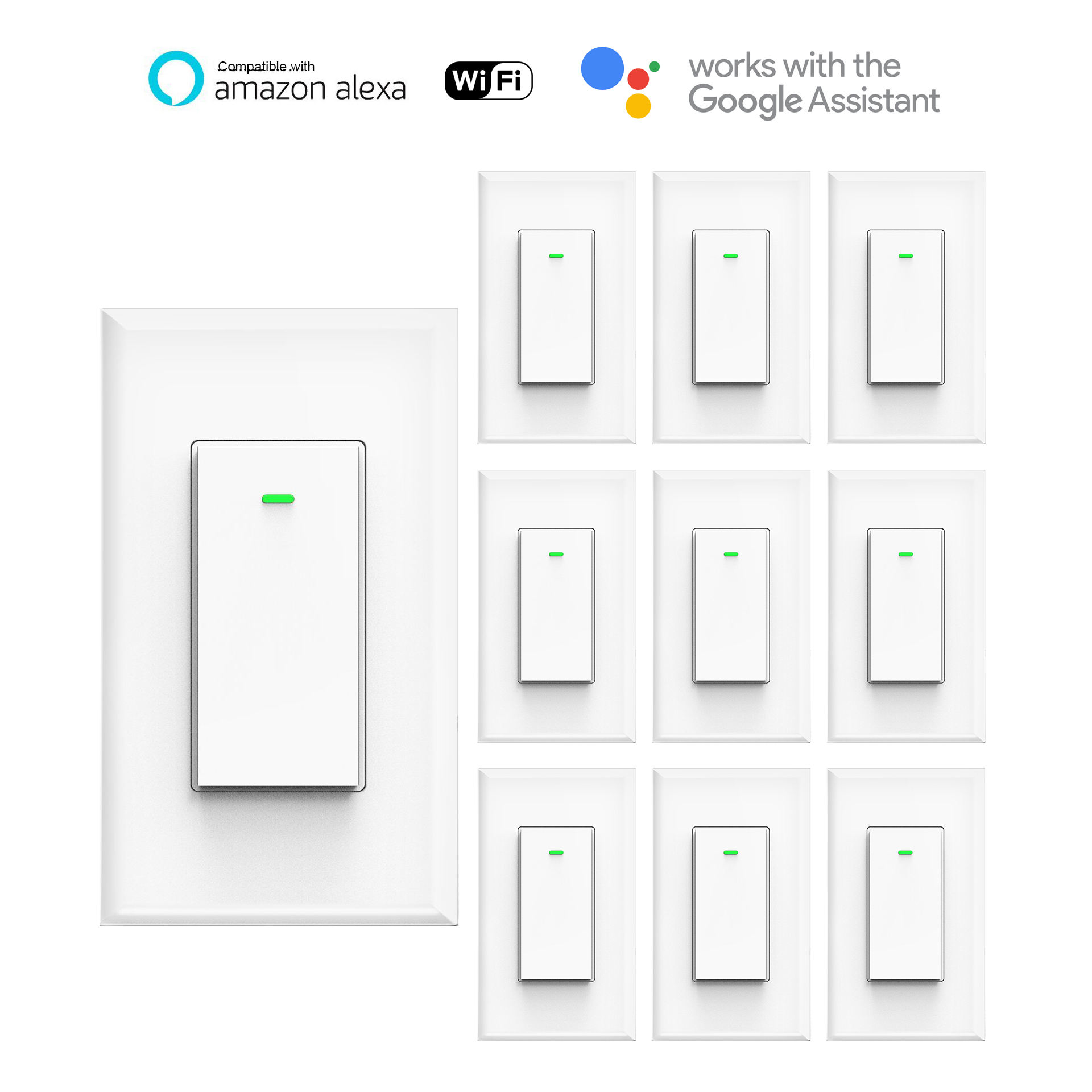 Smart Switch, WI-FI Wall Light Switch, Phone Remote Control Wireless Switch, Timing Schedule, Automatic Control Your Fixtures From Anywhere,Compatible with Alexa, No Hub Required Kuled (10pack)