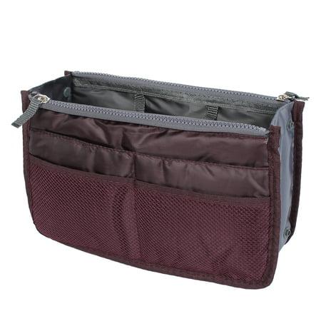 Bag Organizer Insert - Burgundy Cosmetic Makeup Storage Handbag Tote Insert Purse Organizer Pouch Bag