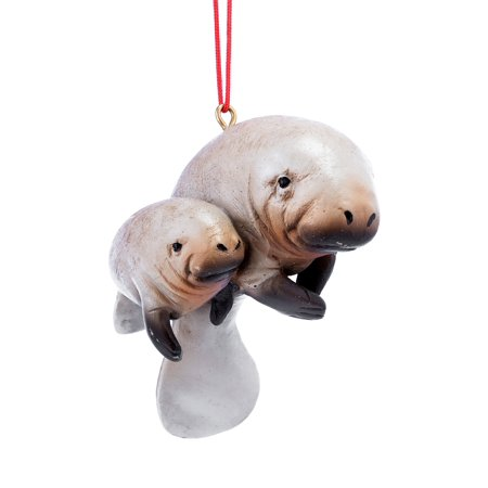 Manatee Mom with Baby Christmas Holiday Ornament 3 Inches - Baby Christmas Crafts