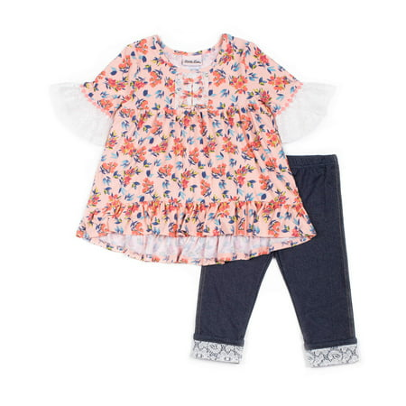 Long Sleeve Yummy Lace Top & Capri, 2pc Outfit Set (Baby Girls & Toddler Girls)