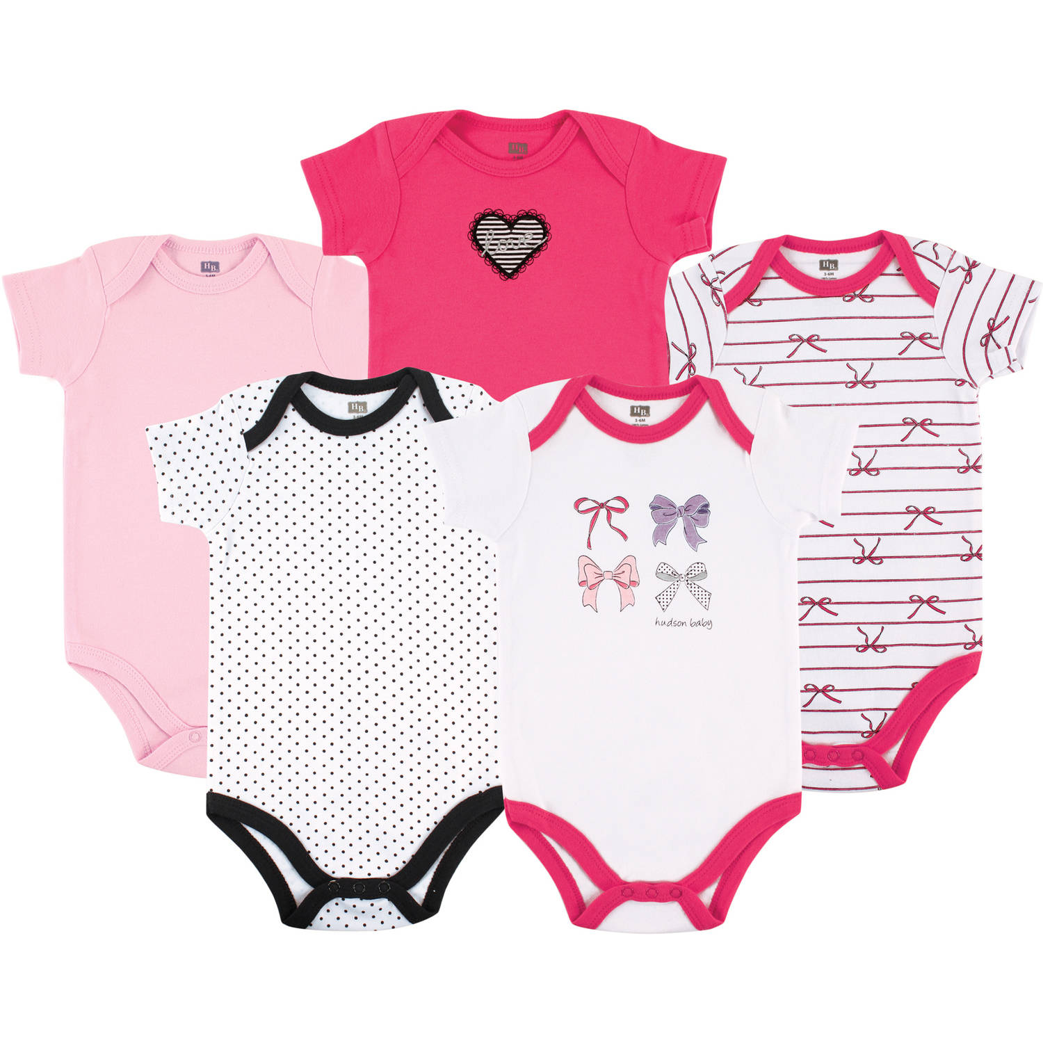 Hudson Baby Newborn Baby Girls Bodysuit 5-Pack - Bows