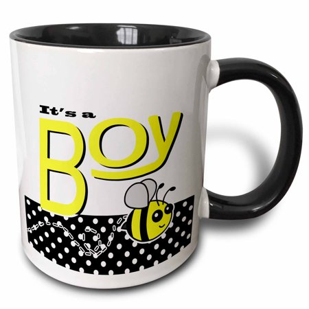 3dRose Its a Boy - Cute Yellow Bumble Bee Black and White Polka Dots - Two Tone Black Mug, 11-ounce