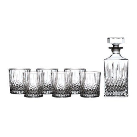Royal Doulton Earlswood Whiskey Decanter & Tumblers, Set/4