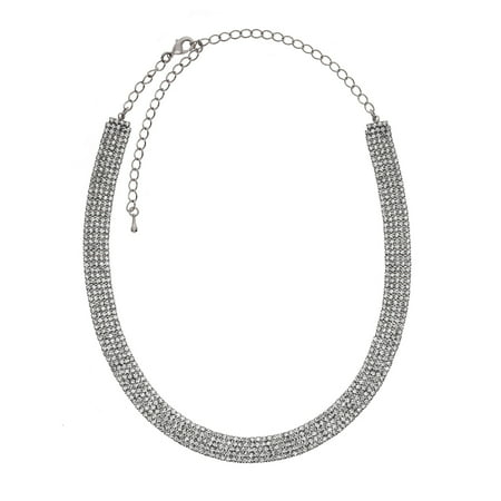 Rhodium Plated Crystal Filigree (X & O Rhodium Plated 10mm Crystal Contour Necklace ***)