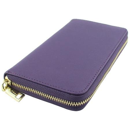 Amy&Joey genuine saffiano leather zip around wallets- PURPLE