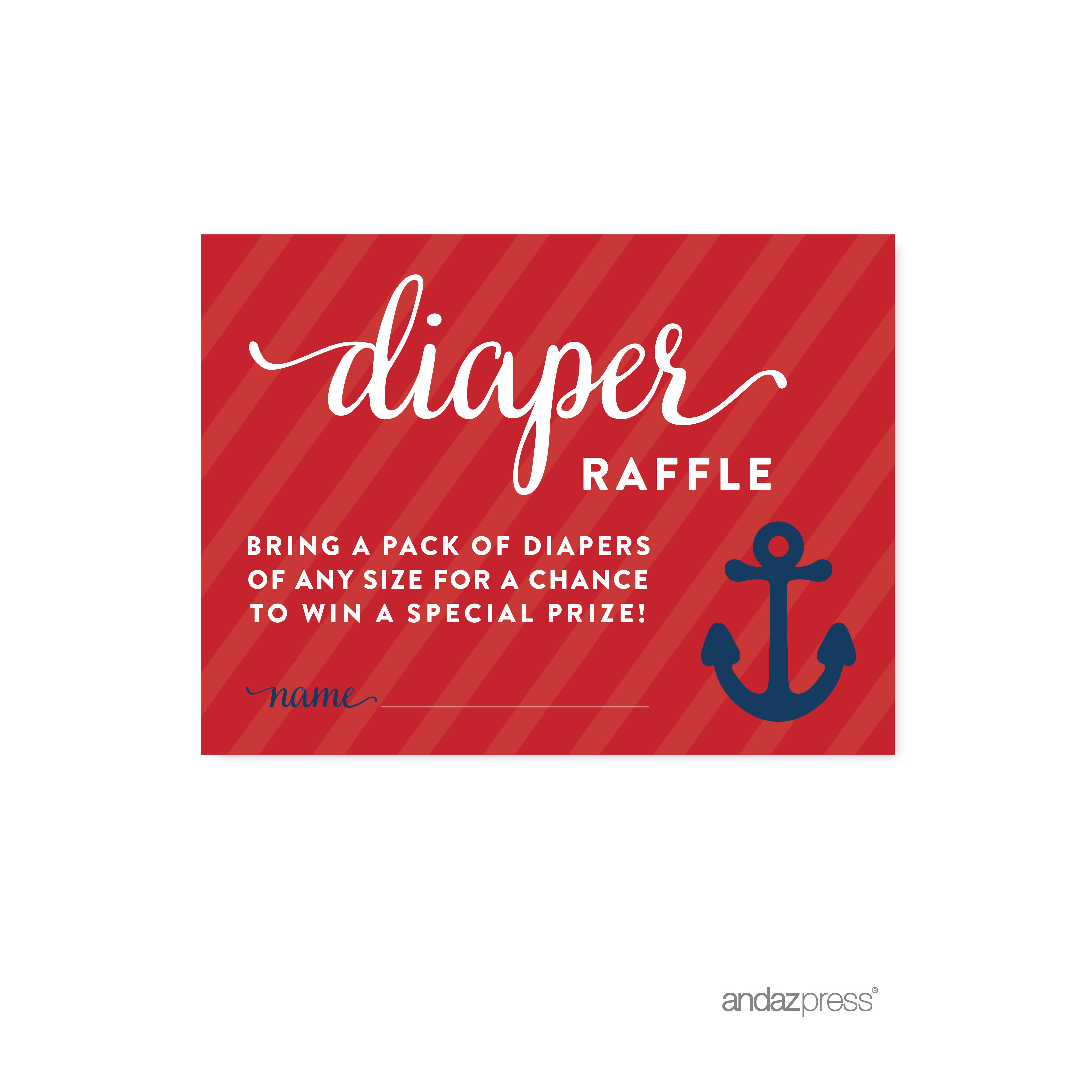 Diaper Raffle Navy Blue Nautical Baby Shower Game, 30-Pack