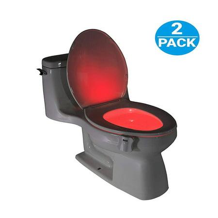 Toilet Night Light(2Pack), 8-Color Led Motion Activated Toilet Seat Light, Fit Any Toilet Bowl,Toilet Bowl Light with Two Mode Motion Sensor LED Washroom Night Light, I5239