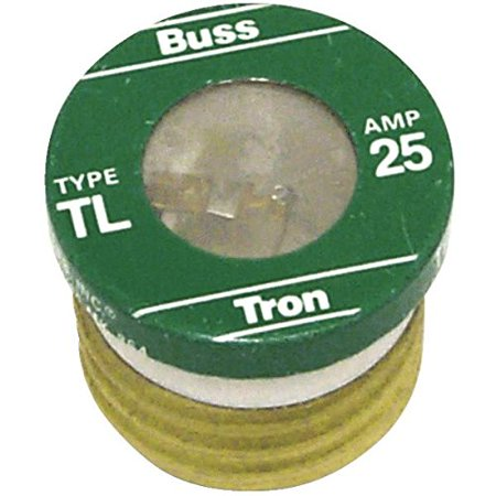 TL-25 25 Amp Time Delay, Loaded Link Edison Base Plug Fuse, 125V UL Listed, Time-Delay Plug Fuse By