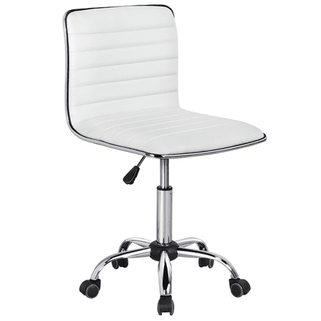 Yaheetech Adjustable PU Leather Low Back Armless Desk Chair Ribbed Swivel Task Chair Office Chair (Swivel Desk Chair Leather)