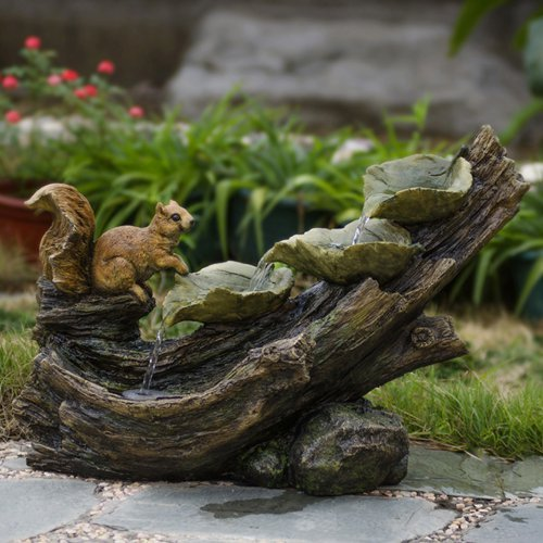 Jeco Tree Trunk and Squirrel Indoor/Outdoor Fountain