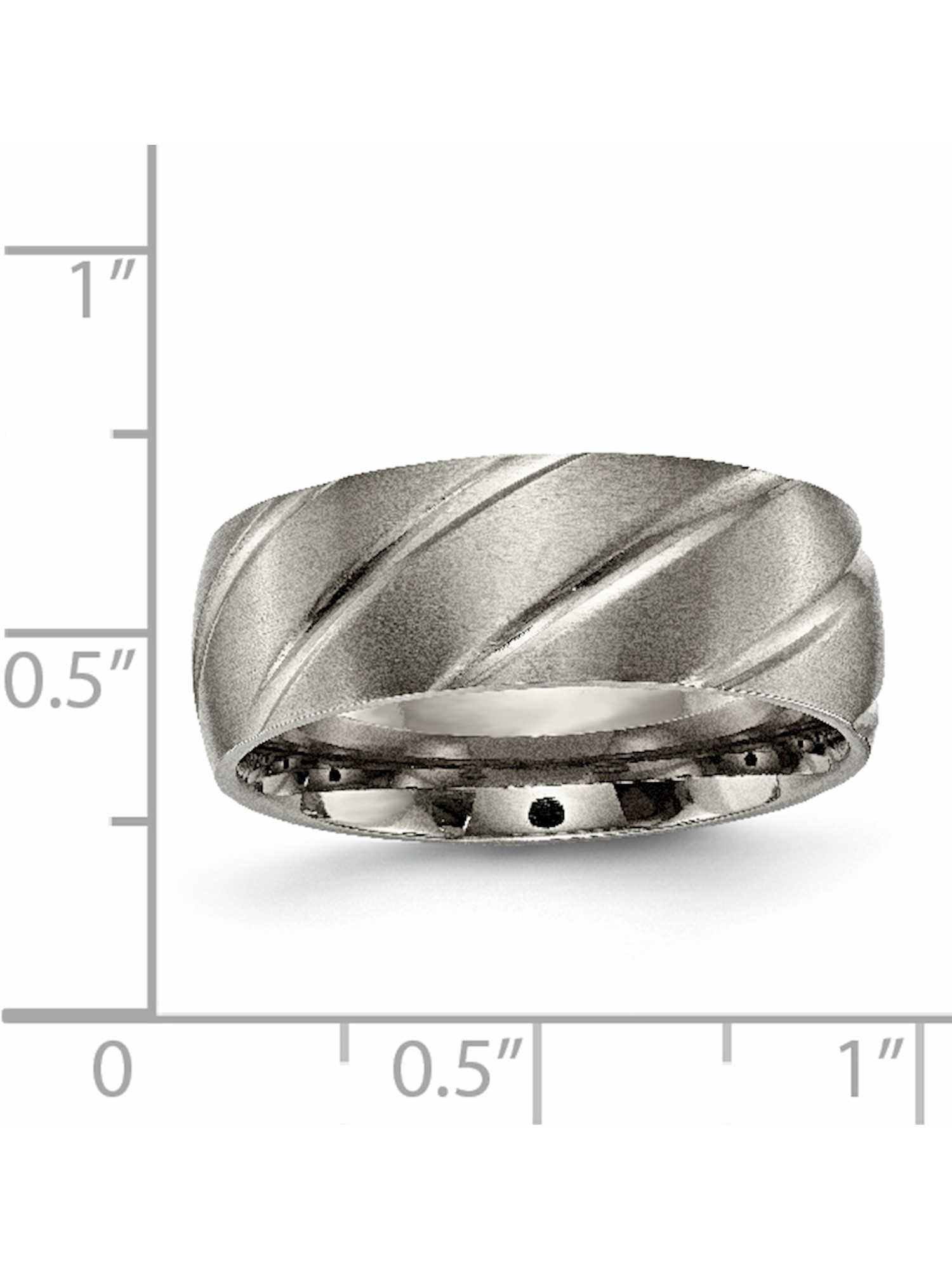 Titanium Grooved 8mm Satin Band Size 13 Length 0 Width 8