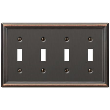 Quad 4-Gang Toggle Decora Wall Switch Plate, Oil Rubbed Bronze Quad Switchplate Cover