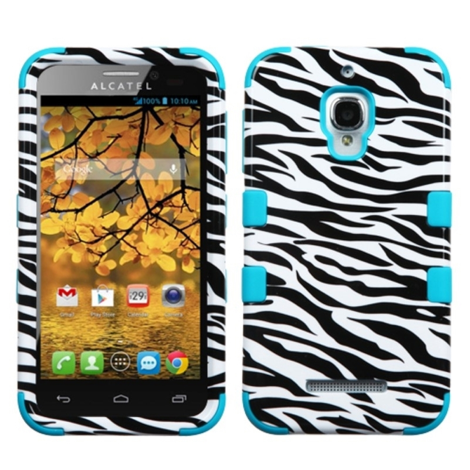 Insten Zebra Skin/Tropical Teal TUFF Hybrid Case Cover For ALCATEL One Touch Fierce 7024W