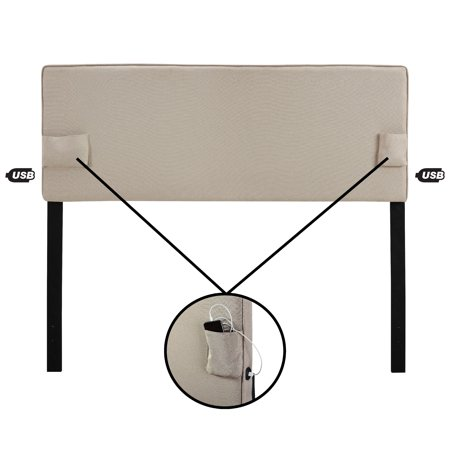 USB Panel Headboard w/ Storage Pockets, Multiple Sizes and Colors ()