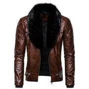 Men's Leather Vintage Steam Pocket Zipper Fur Collar Punk Gothic Retro Coat