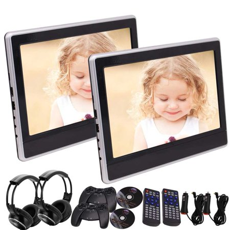 Pair of headset included! Dual 11.6'' Backseat DVD Player TFT LCD Screen Car Headrest Monitor Support HDMI/USB/SD Input IR/FM/Speaker/Earphone Jack 32 Bits Games+Remote Control+Game Disc (Headrest Monitor Hdmi)