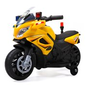 Tobbi 6V Kids Ride On Police Motorcycle Car Battery Powered 4 Wheel Bicycle Electric Toy, Yellow